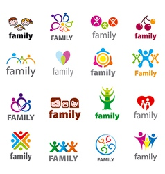 big set logos family vector image