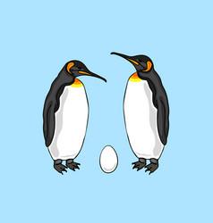 Bird penguin couple with egg vector