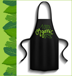 Black apron chef clothing with organic logo vector