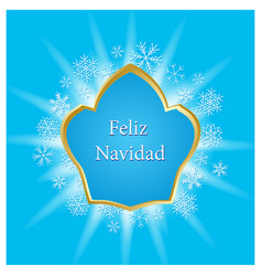 Blue greeting card for christmas - feliz navidad vector