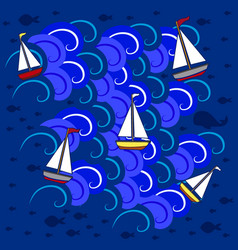 Boats in sea 5 vector