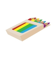 Box of colored pencils icon cartoon style vector