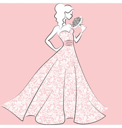 bride in lace wedding dress vector image