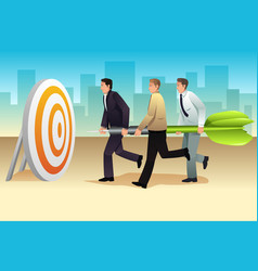 businessmen aiming a dart on the target vector image