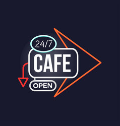 Cafe open 24 7 retro neon sign vintage bright vector