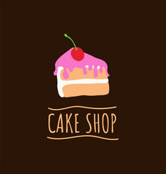 Cake shop logo baking and bakery house emblem vector