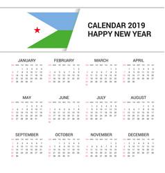 Calendar 2019 djibouti flag background english vector