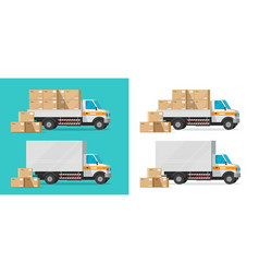 cargo truck loading parcel package boxes or vector image