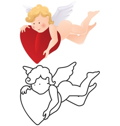 Cartoon angel color and outline vector image