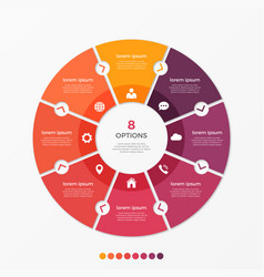 Circle chart infographic template with 8 options vector
