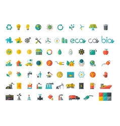 Collection of ecology flat icons vector image