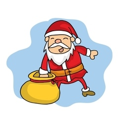 Collection stock santa with gift bag vector