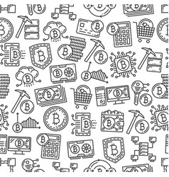 cryptocurrency mining bitcoin seamless pattern vector image