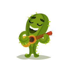 Cute humanized cactus singing song and playing vector