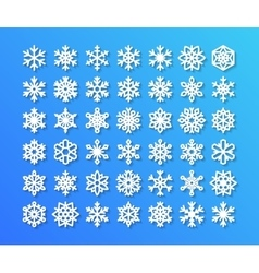 Cute snowflake collection isolated on blue vector image