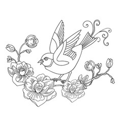 decorative song bird with flowers vector image