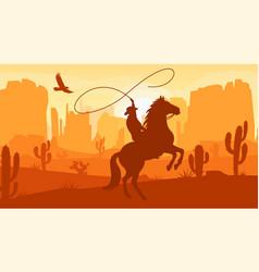 Desert landscape with cowboy on horse vector