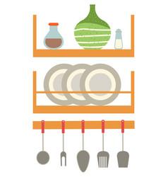 Dishware on shelf kitchen appliances cook vector