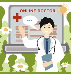 doctor online concept in a robe waving vector image