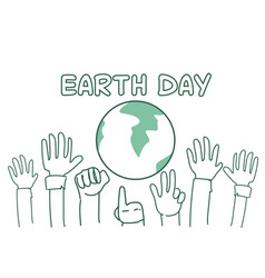earth day background with hands raised to globe vector image