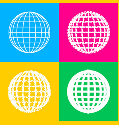 earth globe sign four styles of icon on four vector image