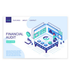 financial audit landing page isometric vector image