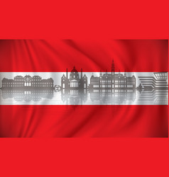 Flag of austria with vienna skyline vector