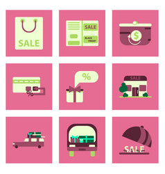 flat assembly icons of set of gifts and discounts vector image