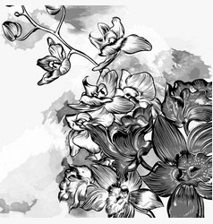 floral grunge background with orchids in grey vector image