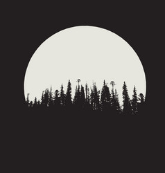 Forest silhouette on moon background vector