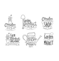 garden shop organic product hand drawn badges set vector image