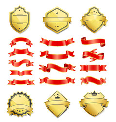 gilded shield shapes and silk ribbons variation vector image