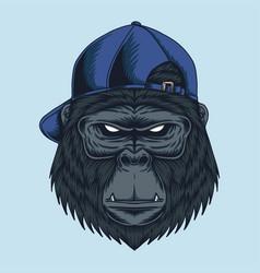 gorilla head cap vector image