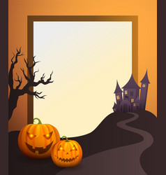 Halloween photo frame with old castle and pumpkins vector
