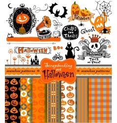 Halloween scrapbook collection vector