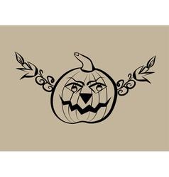 Hand drawn halloween pumpkin vector image