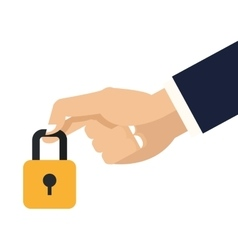 Hand holding closed padlock icon vector