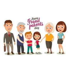 Happy family Parents grandparents and childs vector image