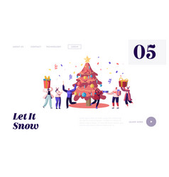 happy people celebrating xmas party website vector image