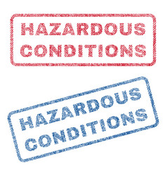 Hazardous conditions textile stamps vector