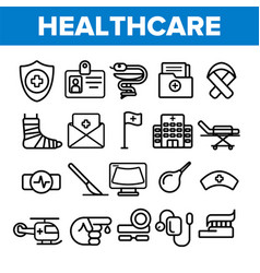 healthcare linear icons set thin pictogram vector image