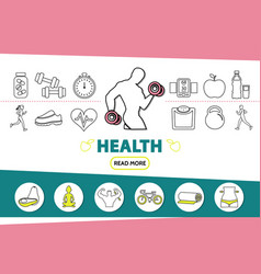healthy lifestyle line icons set vector image