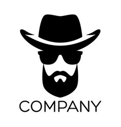 hipster man logo vector image
