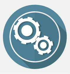 Icon gears on white circle with a long shadow vector