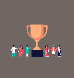 indian people winner cup golden trophy first place vector image