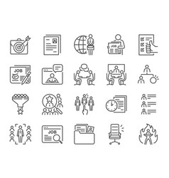 jobs line icon set vector image