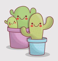 Kawaii cactus icon vector