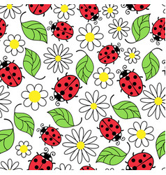 Ladybug flowers and leaves seamless pattern vector