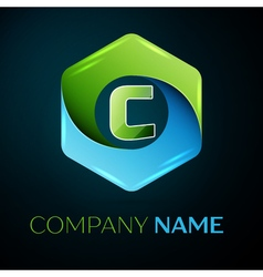 Letter C logo symbol in the colorful hexagonal on vector