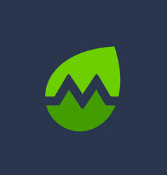 Letter m eco leaves logo icon design template vector